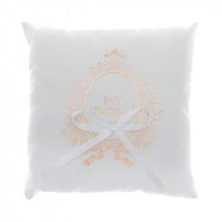 """Coussin Alliances """"Just Married"""" rose gold"""