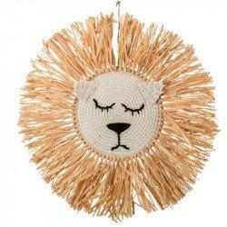 Tête de lion raphia - 45 cm