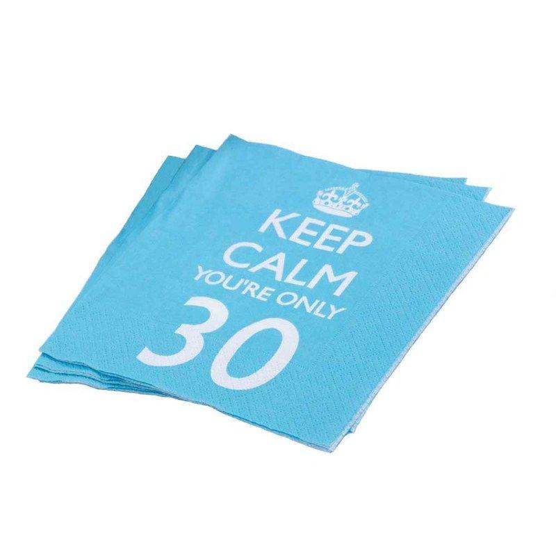 """Serviettes 30 ans """"keep calm you're only 30"""" -20 unités"""