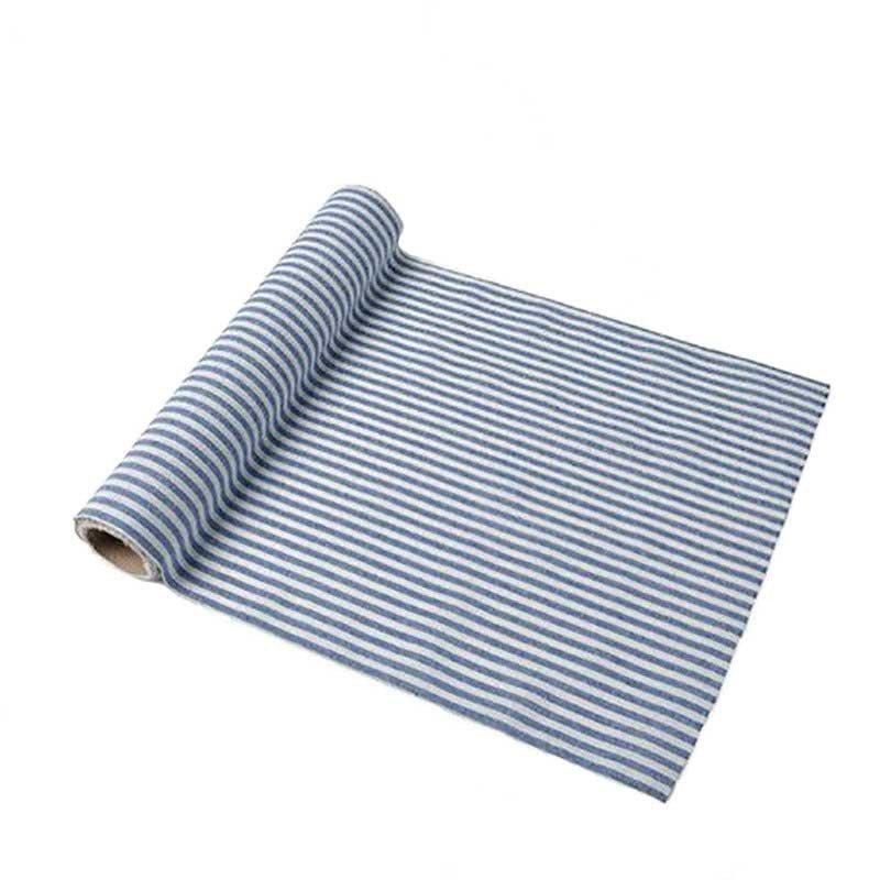 Chemin de table à rayures bleu marine et blanches 5 mètres