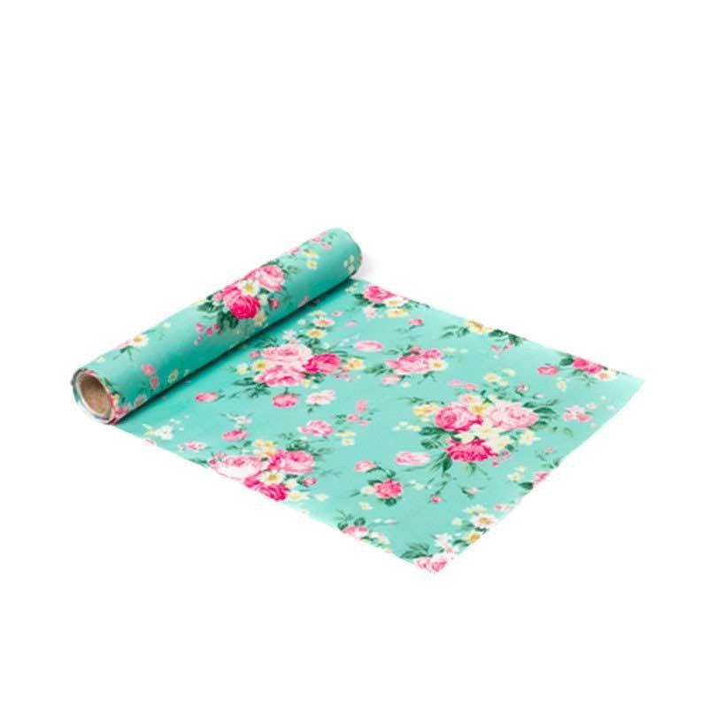 "Chemin table tissu ""tea time "" menthe 5 mètres"