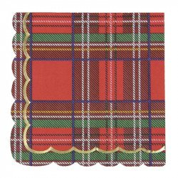 Serviettes Noël festonnées tartan (x16)