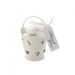 Petits pots en zinc cœur (x5)