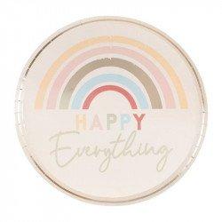 """Assiettes Arc-En-Ciel """"Happy Everything"""" (x8)"""