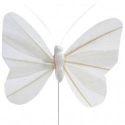 Papillons sur tige (x6) - Blanc