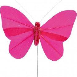 Papillons sur tige (x6) - Fuchsia