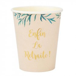 "Gobelets feuillage ""Retraite"" (x8)"