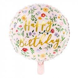 "Ballon fleuri ""Happy Birthday"" -  45 cm"