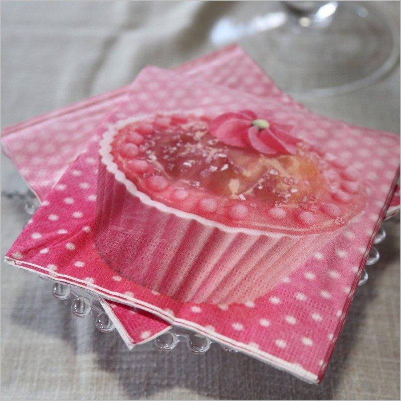 Serviette en papier cup cakes- 20 unités