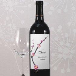 Etiquette bouteille de vin Fleur de cerisier - 8 unités