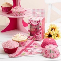 Moule à cupcake rose bonbon - 100 unités