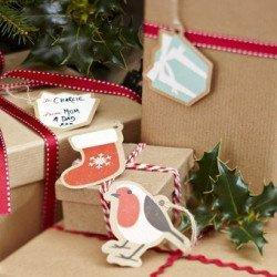 Etiquettes à cadeau Noël Pain d'épices -12 unités
