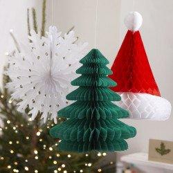 3 décorations nids d'abeille Noël