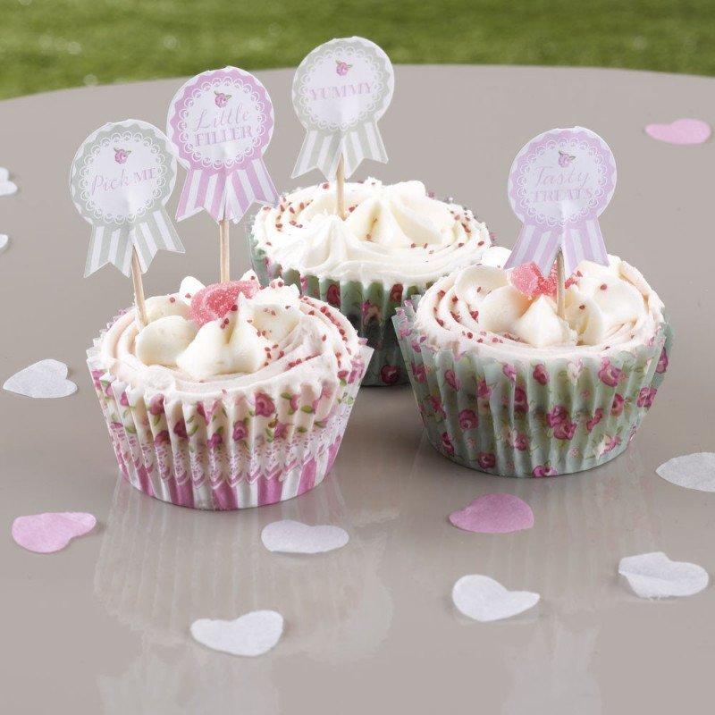Pick à cup cakes Vintage Lilas -20 unités