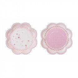 Assiette fleur rose - 8 unités
