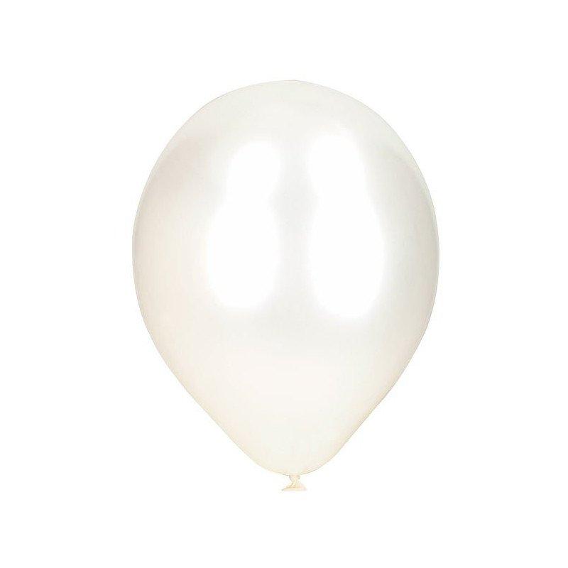 Ballons perlés blancs -10 unités