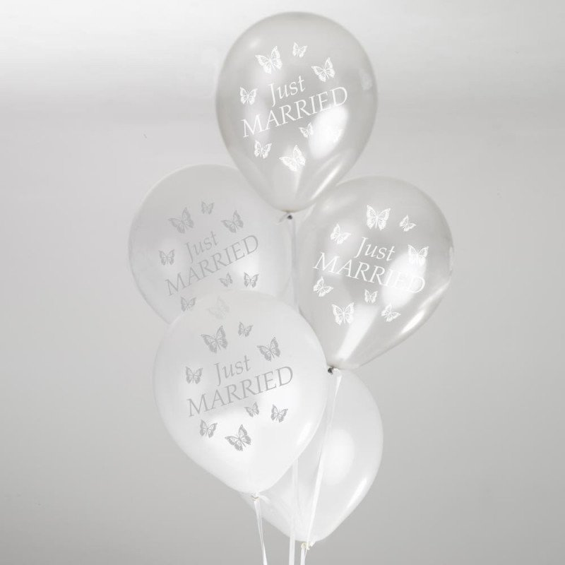 Ballons Just married papillons - 10 unités