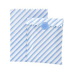 Sachets à bonbons rayés bleu pastel (x10)