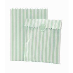 Sachets à bonbons rayés menthe (x10)