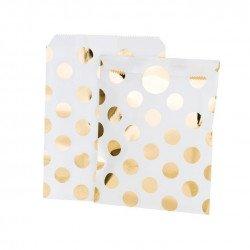 sacs blanc à pois dorés (x12)