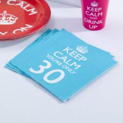 "20 Serviettes 30 ans ""keep calm you're only 30"""
