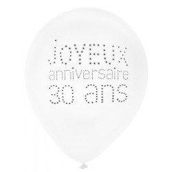"""Ballons """"Joyeux Anniversaire 30 ans"""" -8 pièces"""
