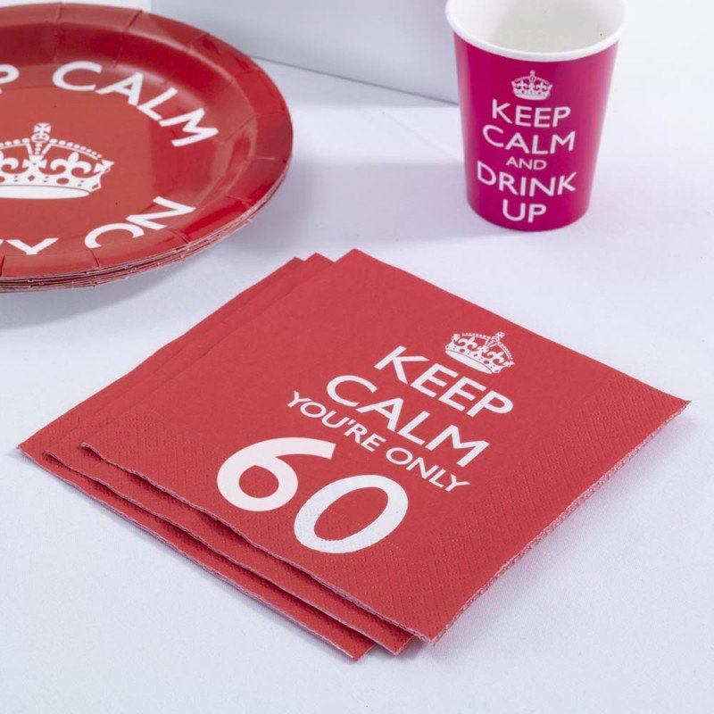 "Serviettes 60 Ans ""Keep Calm You're Only 60"" -20 Unités"