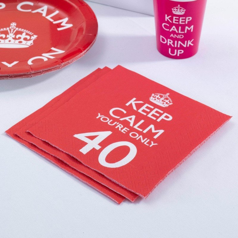 "Serviettes 40 Ans ""Keep Calm You're Only 40"" -20 Unités"