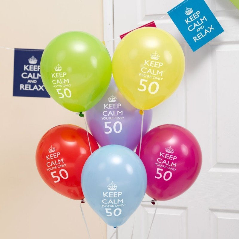 "Ballons 50 Ans ""Keep Calm You're Only 50"" -8 Unités"