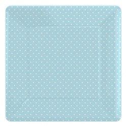 Assiettes carrées à petits pois (x8) - Bleu ciel