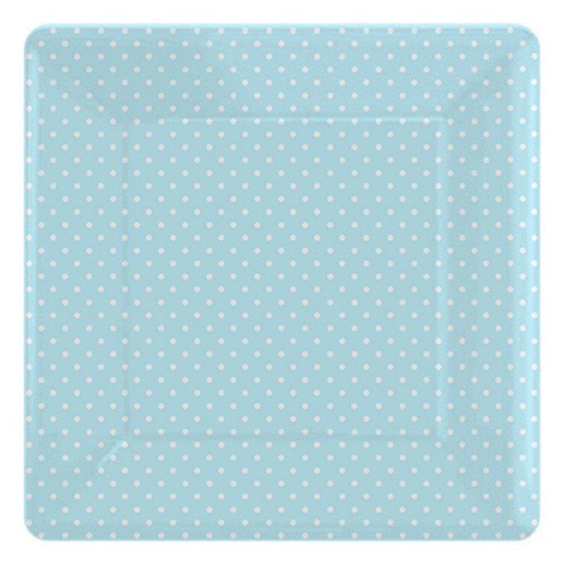 Assiettes carrées à pois bleus