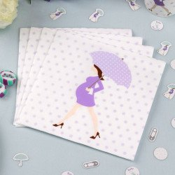 Serviettes baby shower purple sur une table (x8)