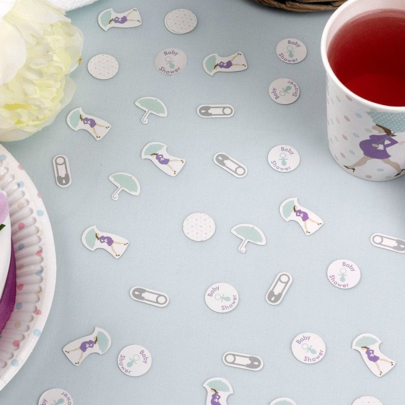 confettis baby shower purple répartis sur une table - sachet de 14g