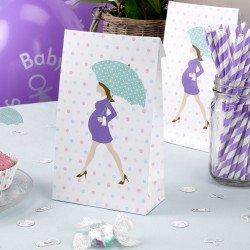 Sacs cadeaux baby shower purple - 5 unités