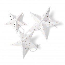 Étoiles 3D blanches à pois dorés (x3)