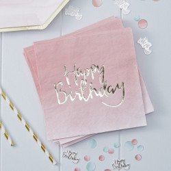 "20 Serviettes ""Happy Birthday"""
