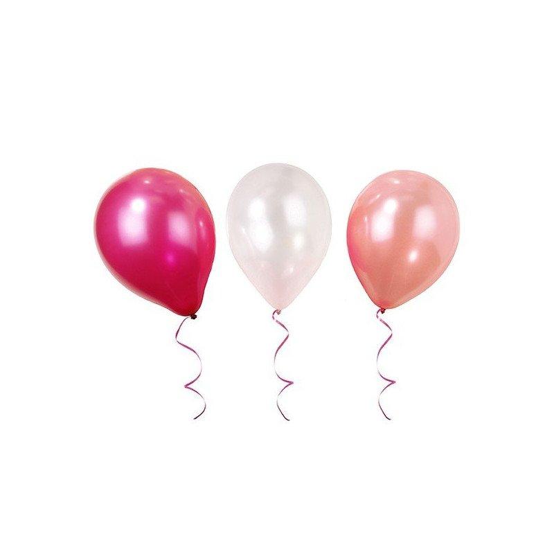 Ballons fushia, blanc et rose (x12)