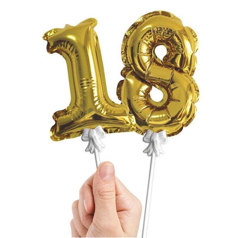Ballons couleur or nombres 18 sur pics