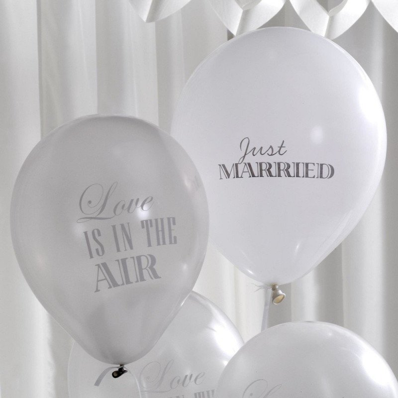 Ballons vintage Just Married - 8 unités
