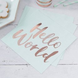 "20 Serviettes"" Hello World"" Menthe & Rose Gold"