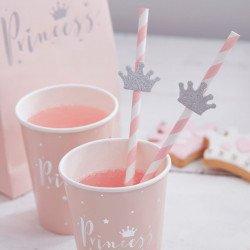 Pailles princesse rose avec courronne pailletées argent