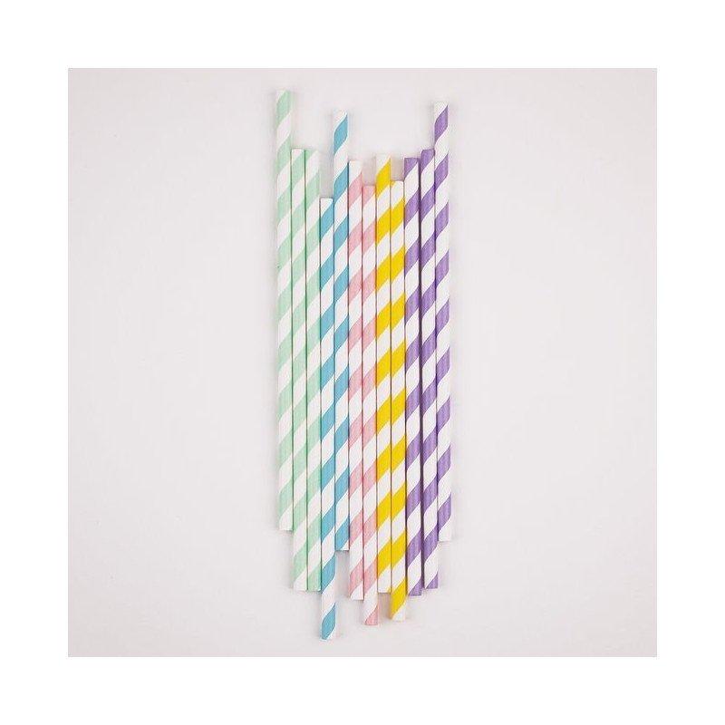pailles mélangées - 5 couleurs-25 unites