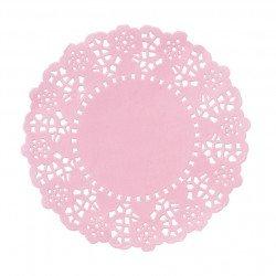 Napperons rose en papier dentelle (x100)