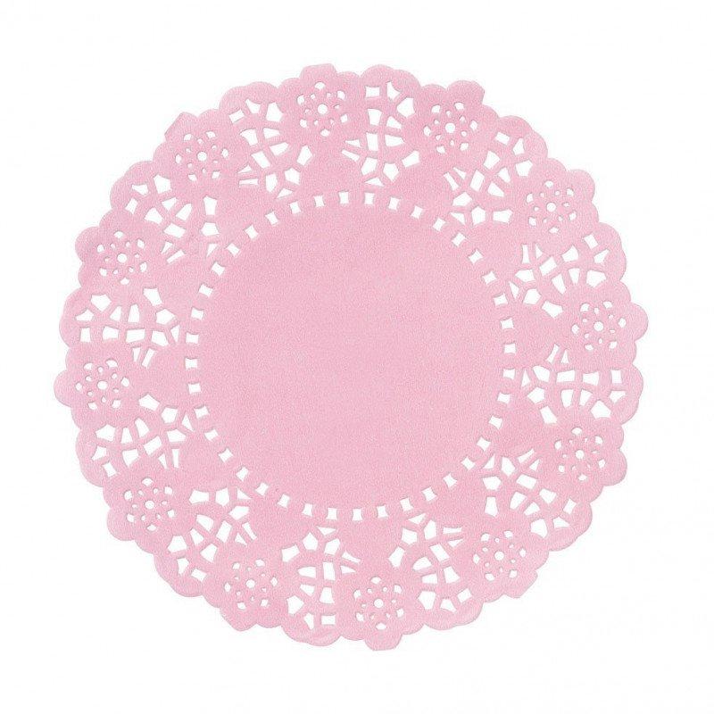 100 Mini napperons rose en papier dentelle