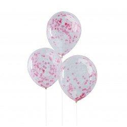 Ballons confettis (x5) - Rose