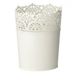 Pot - bougeoir blanc dentelle - 15cm