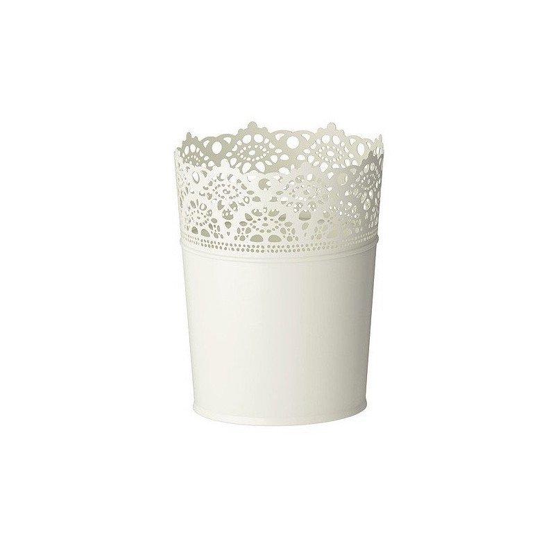 Pot - bougeoir blanc dentelle - 15cm