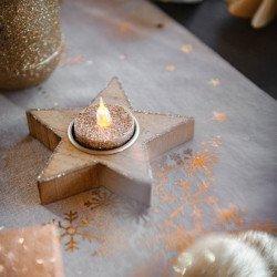 Bougeoir etoile bois contour pailletes cuivre - 11cm