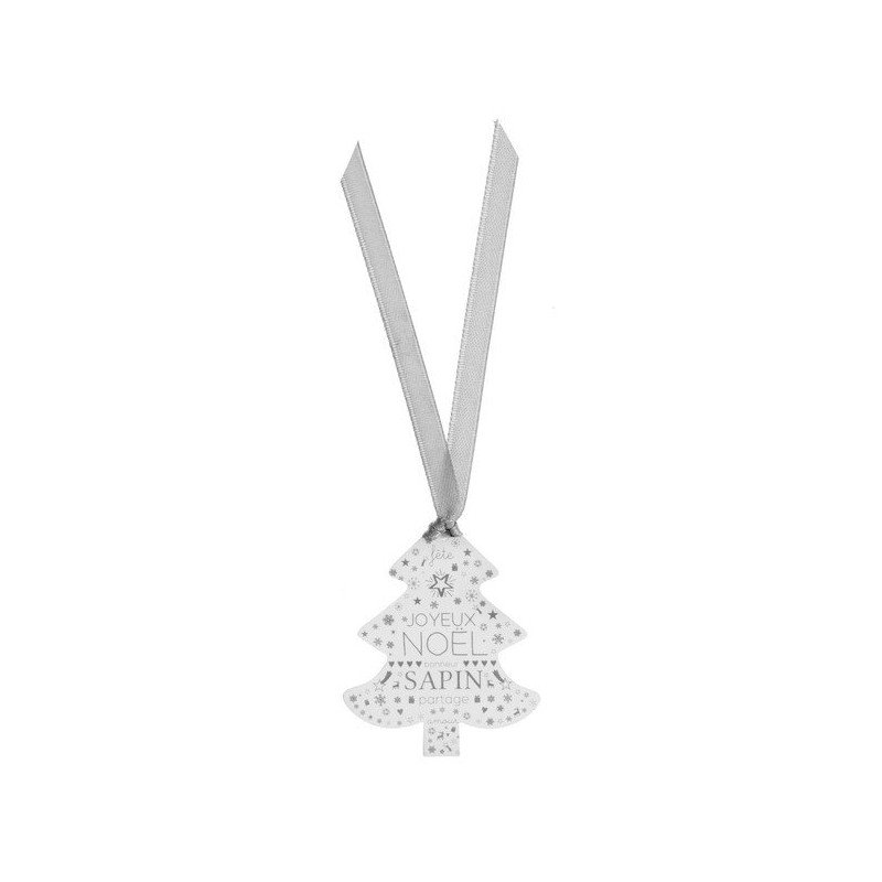 marque-place sapin & ruban blanc-argent