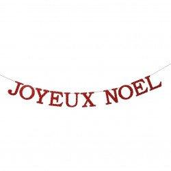 "Guirlande bois ""joyeux noel"" rouge - 2,75cm"